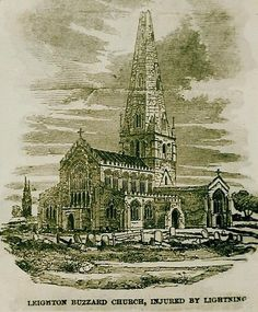 All Saints Church after the lightning   strike, 1852