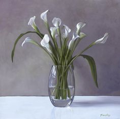Calla Lilies In A Vase Painting - Calla Lilies In A Vase Fine Art Print