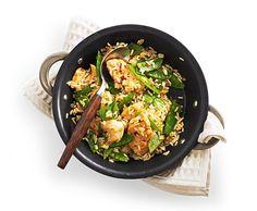 Gebratener Reis mit Poulet und Kefen