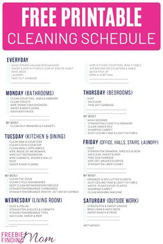 Get organized and get a spotless house with the help of this FREE printable cleaning schedule. Cleaning Dust, Deep Cleaning, Spring Cleaning, Cleaning Recipes, Cleaning Hacks, Freebies By Mail, Cleaning Schedule Printable, Saving Tips, Saving Ideas