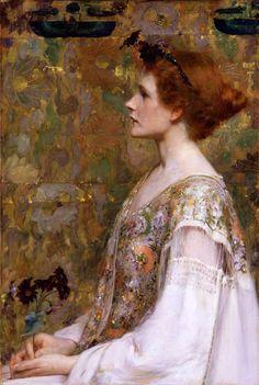Albert Herter (American painter,1871-1950) Woman with Red Hair