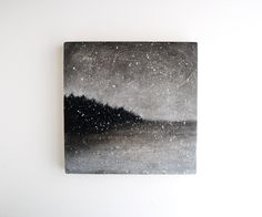 Snowfall - Black and White Oil Painting - 6 x 6. $65.00, via Etsy.