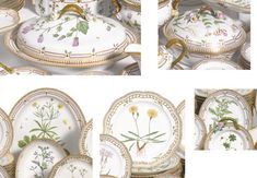 A GROUP OF ROYAL COPENHAGEN 'FLORA DANICA' WARES MODERN comprising: a large oval vegetable dish and cover, a circular vegetable dish and cover, a 17 1/2-inch oval platter, a 10 1/2-inch oval platter and a 12-inch reticulated circular plate, standard printed and painted factory marks, shape numbers 20 3567, 20 3568, 20 3519, 20 3537 and 20 3527. 7 pieces.