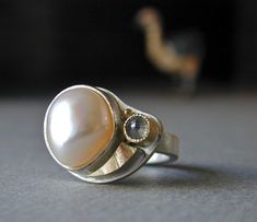Freeform Pearl and Rose Cut Diamond Ring in Sterling Silver with 18kt Gold, Handcrafted. $525.00, via Etsy.