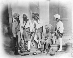A group of Sikh sappers (combat engineers) of the Indian Army, 1858. (Photo by Felice Beato/Hulton Archive/Getty Images)