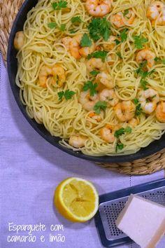 Ponto de Rebuçado Receitas: Esparguete com camarão e limão Good Enough To Eat, Food Inspiration, Shrimp, Seafood, Spaghetti, Good Food, Cooking, Ethnic Recipes, Fish