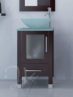"17.75"" Soft Focus Small Bathroom Vanity - Glass"