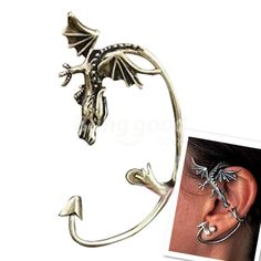 Punk Rock Gothic Style Dragon Pattern Ear Cuff Earring No Piercing Free Shipping!  - US$1.50