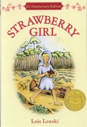 Review of the 1946 Newbery Medalist: Strawberry Girl, by Lois Lenski. FIVE STARS (F) - The Boyers work and fight (literally) to stake out a living in the Florida swampland and pine forests. #NewberyMedal
