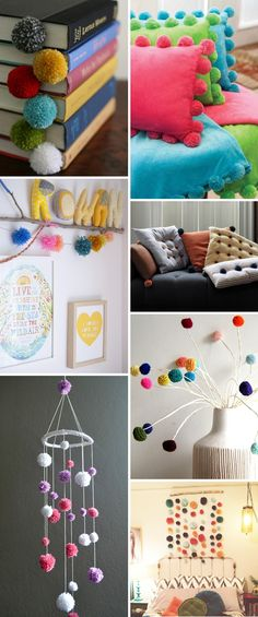 Pompom 01 clever diy, pom pom crafts и diy home decor Diy Crafts Videos, Diy And Crafts, Crafts For Kids, Retro Crafts, Diy Pompon, Ideas Dormitorios, Craft Projects, Projects To Try, Diy Cadeau