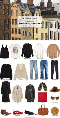 What to Pack for Edinburgh, Scotland - livelovesara If you are wondering what to pack for Edinburgh during the summer months, you can see some ideas here. What to Pack for Edinburgh, Scotland Packing Light List Packing Light Summer, Summer Packing Lists, Travel Packing Outfits, Travel Capsule, Travel Outfit Summer, Packing List For Travel, Travel Wardrobe, Summer Outfits, Travel Bag