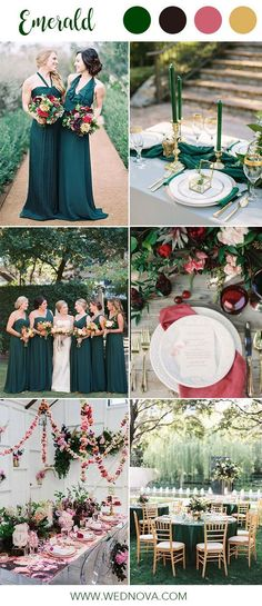 The 14 best ideas for an emerald green wedding range 14 Best Emerald Wedding Color Palette Ideas to Swoon Over Emerald bridesmaid dresses colour combination for wedding dusty rose green colors color palette Emerald Wedding Colors, Emerald Green Bridesmaid Dresses, Vintage Wedding Colors, Emerald Green Weddings, Spring Wedding Colors, Bridesmaid Dress Colors, Emerald Color, Emerald Dresses, Bridesmaids