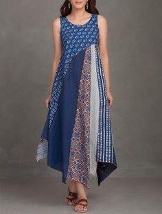 Buy online Dresses - Indigo block printed thread embroidered upcycled organic cotton dress from Jaypore Batik Fashion, Boho Fashion, Fashion Dresses, Fashion Design, Cheap Fashion, Affordable Fashion, Fashion Women, Cotton Dresses Online, Linen Dresses