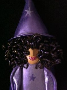 The Witch of the Purple Stars  Wall Art  OOAK by LaBellaTerra