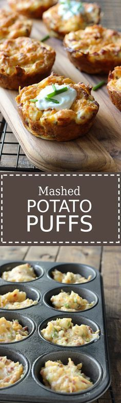Work some magic on your mashed potatoes with mashed potato puffs! These loaded p… Work some magic on your mashed potatoes with mashed potato puffs! These loaded potato puffs will breathe some new life into your leftover mashed potatoes! Side Dish Recipes, Vegetable Recipes, Vegetarian Recipes, Cooking Recipes, Potato Recipes, Crockpot Recipes, Cheese Recipes, Skillet Recipes, Cooking Food