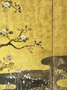 Cherry Blossoms and Maple Tree. Unknown (Artist). Meiji period 1868-1912. Left of a pair of Japanese folding screens. Rinpa School. Ink and color on gold leaf paper. Virginia Museum of Fine Arts.