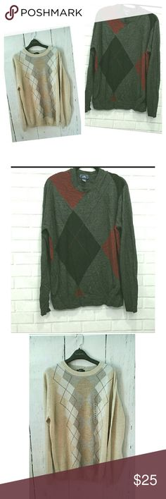 NWT DOCKERS Argyle 2 for 1 Acrylic Sweater LT Tan NWT Argyle Acrylic crew neck sweater.  Charcoal NWOT Acrylic Crew neck Sweater.  Large Tall. Presents for my husband that didn't work for him. Dockers Sweaters Crewneck