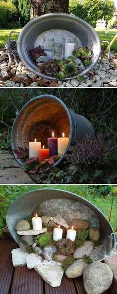 Reuse old galvanized buckets and river rocks and white candles (you can also use led lights) to make charming outdoor lighting. Terrasse diy Dekor 29 Awesome DIY Projects to Make Backyard and Patio More Fun Backyard Patio, Backyard Landscaping, Backyard Ideas, Diy Patio, Cheap Patio Ideas, Indoor Garden, Outdoor Gardens, Diy Garden, Garden Art