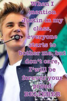 Im a Belieber... Problem?? Im just a Belieber who always support my Idol Justin Drew Bieber <3 <3 <3 I love him soooo much.. Hater's can't stop me ;)