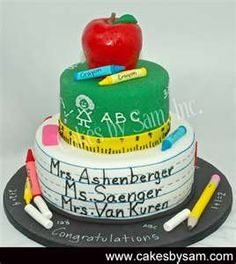 Perfect for school cake Pretty Cakes, Cute Cakes, Beautiful Cakes, Yummy Cakes, Amazing Cakes, Teacher Cakes, Teacher Party, Bithday Cake, School Cake