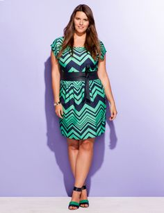 Green and navy chevron stripe dress. Cute for spring!