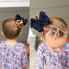 Today I did a couple connected ponies along the hairline up to a high side braided bun! Cute, quick, and easy! Toddler hair ideas