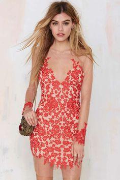For Love & Lemons Luau Lace Mini Dress - Red