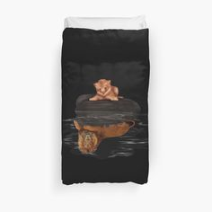 Cute little simba and the big old lion king reflection Duvet Covers #Duvet #Covers #DuvetCovers #bedroom #thelion #cat #kitten #animals #kitty #kittens #lion #lionking #younglion #animals #bigkittens