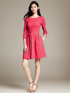 Ponte Fit-and-Flare Dress | Banana Republic