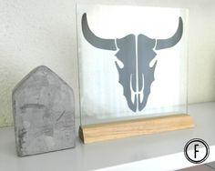 Glasplaat Cow Skull