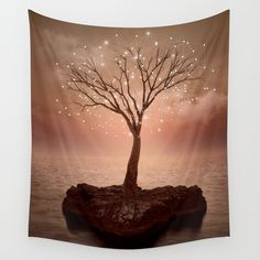 The Strong Grows In Solitude (Tree of Solitude) Wall Tapestry by Soaring Anchor Designs  - $39.00