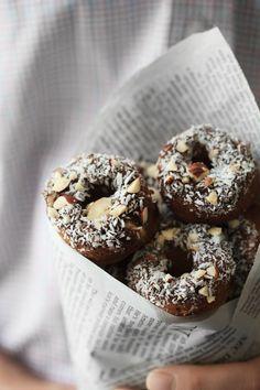 {Cinnamon roll almond flour doughnuts.}