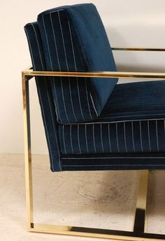 brass and blue pinstripe velvet