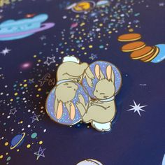 """Space Buns"" Hard Enamel Pin - Glitter"