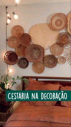 Boho Room, Bohemian Bedroom Decor, Boho Living Room, Baskets On Wall, Woven Baskets, Wall Basket, Wicker Baskets, Deco Boheme, Diy Wall Decor