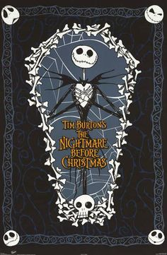 A sweet poster of Jack Skellington from Tim Burton's eerily fun Halloween movie A Nightmare Before Christmas - one of the best animated films of all time! Fully