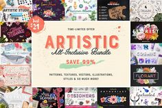 21$ Artistic All-Inclusive Bundle by PixelBuddha on @creativemarket Artistic All-Inclusive Bundle - Illustrations Time-limited offer: Save mind-blowing 99% and get over 4000 artistic design assets for just $21