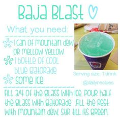 BAJA BLAST RECIPE, hmmm...wonder if it tastes as good as the real thing! Tired of going to Taco Belle JUST for a drink!