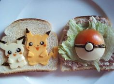 People just can't resist the cute characters of Pokemon. To pay tribute to the little anime characters, many fans are integrating them into their meals! Check out these 4 edible tributes to Pokemon. The Pokemon Sandwich The Pokemon Sandwich is an a Pokemon Party, Cute Pokemon, Pokemon Snacks, Pika Pokemon, Pokemon Birthday, Pokemon Stuff, Pokemon Fan, Geek Pride Day, Cute Food