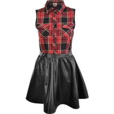 Neon Rose Red Tartan and PU Leather Skater Dress ❤ liked on Polyvore featuring dresses, robe, vestidos, tartan skater dress, plaid skater dress, red dress, neon skater dress and leatherette dress