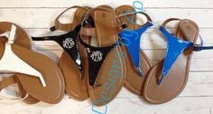 Ladies Monogrammed Sandals Thong shoes Flip by DesignsbyApril1234, $15.95