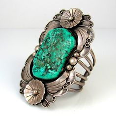 Vintage Cuff | Signed YL | PS.  Sterling silver with Kingman Turquoise