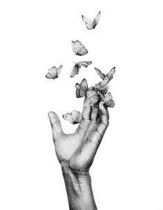Dotted Drawings, Dark Art Drawings, Art Drawings Sketches Simple, Stippling Drawing, Nature Drawing, Pen Art, Butterfly Art, Art Sketchbook, Book Art