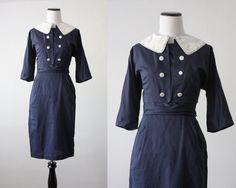 1950s wiggle dress - navy lace 50s dress. $142.00, via Etsy.