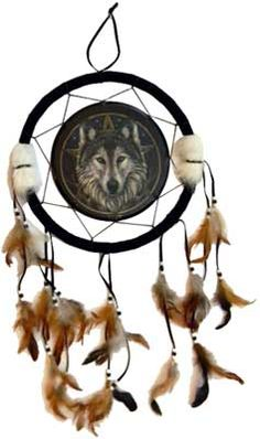 Dream catchers are traditionally used to protect a dreamer from evil. The wolf is known as a seeker of paths and a protector of family. This Dream catcher is made from canvas with a wooden frame and leather, feather and bead accents. It has been printed with an image designed by Lisa Parker, a truly amazing and inspired piece.  www.ancient-wisdoms.com