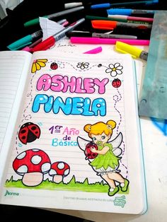Carátula thinkerbell para niña preescolar, flores Folder Decorado, My Diary, Notebook, Bullet Journal, Letters, Education, My Love, Drawings, Ideas