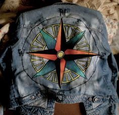 Compass Painted Jean Jacket by cactusSoup on Etsy, $65.00