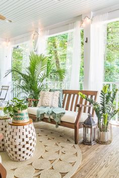 Home Decoration Ideas Small A tropical boho back porch decorated for summer with breezy, functional style from Walmart's Flower Home line by Drew Barrymore and string lights for evening ambience. Cheap Home Decor, Diy Home Decor, Room Decor, Spring Home Decor, Wall Decor, Porch Furniture, Outdoor Furniture Sets, Antique Furniture, Furniture Ideas