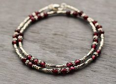 Garnet Beaded Bracelet, January Birthstone Bracelet, Boho Chic Wrap Bracelet, Modern Edgy Beaded Bracelet, Gift For Her, Garnet Jewelry Beautiful and modern, this Tam Davis garnet bracelet is elegance combined with a bit of an edge. The garnets are a lovely rich deep color with