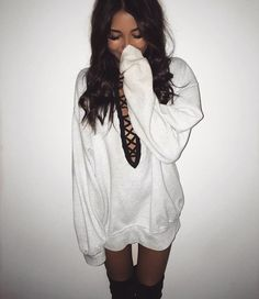 Madison Beer. Thigh gap. White laced up sweater dress.